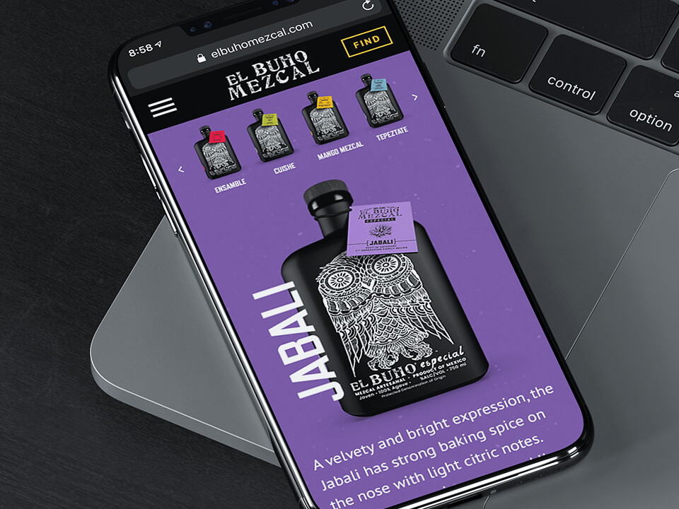 Alcohol Brand Marketing Agency Showing Responsive Tequila Brand Web Page on a Cellphone