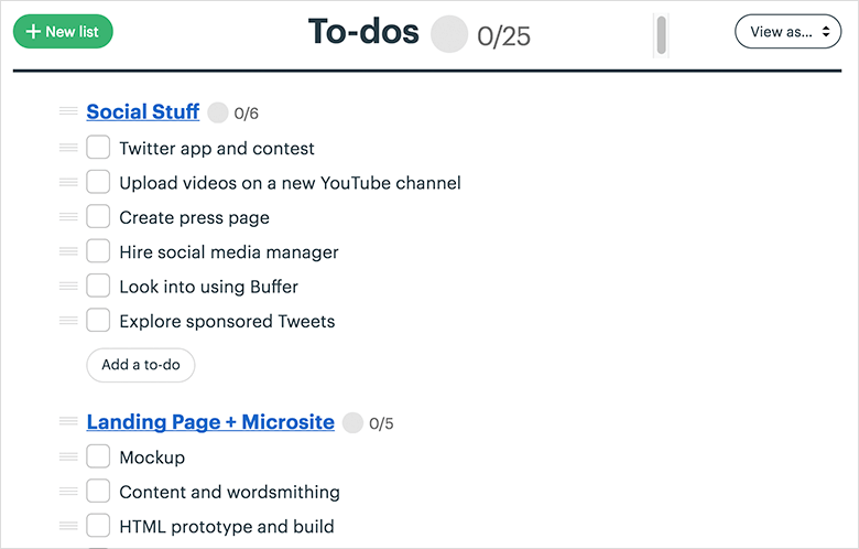 Screenshot of To-dos List Used Inside of Basecamp 3
