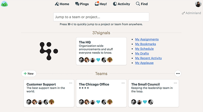 Work Collaboration Platform Homepage Screenshot