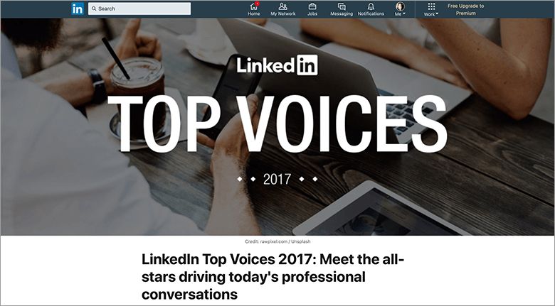 LinkedIn Blog Image Of Top Voices 2017 Page Title
