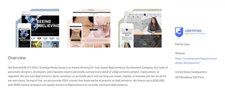 BigCommerce Experts Partner Listing Screenshot On BigCommerce Website