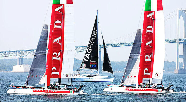 Three Sailboats Competing With Each Other