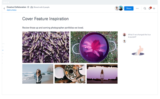 Marketing Company Dropbox Sharing Screenshot