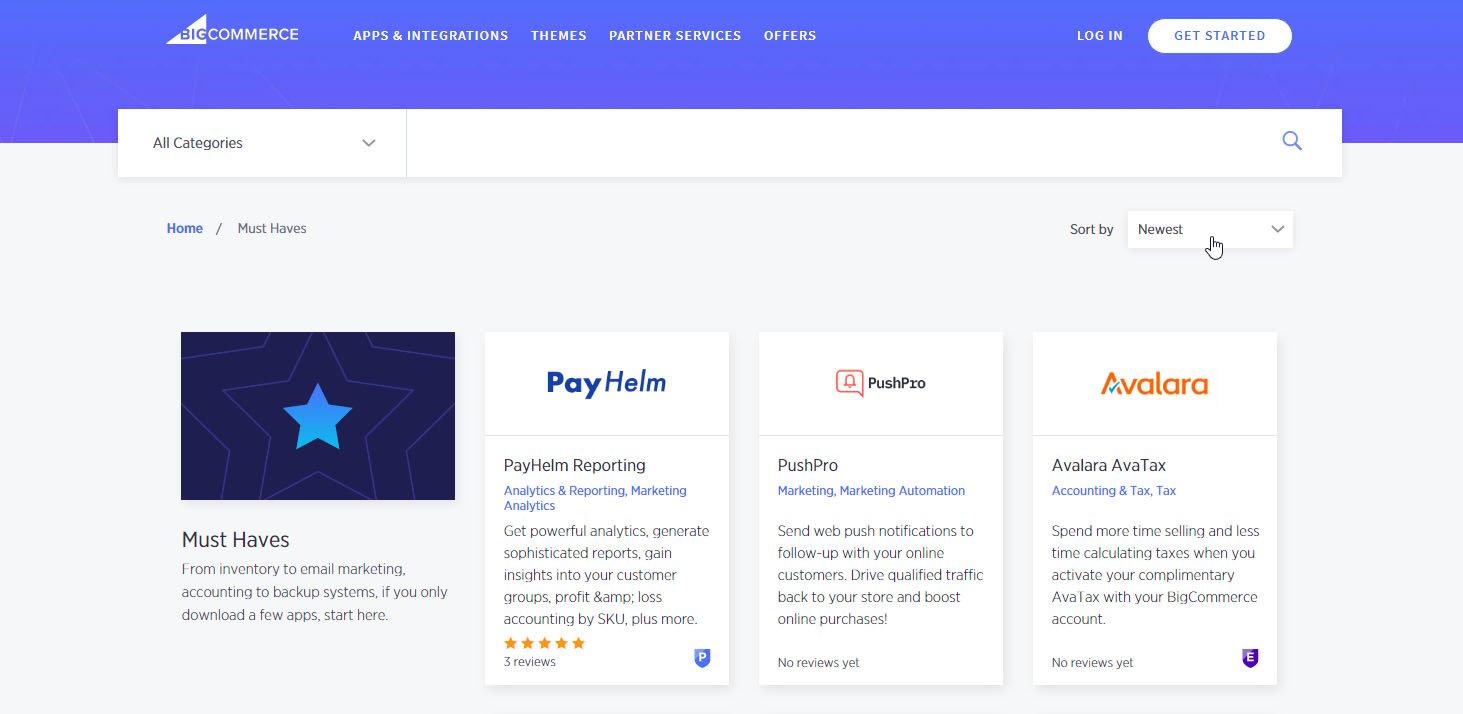 Custom BigCommerce Theme Screenshot of BigCommerce App Marketplace Over Gray Background