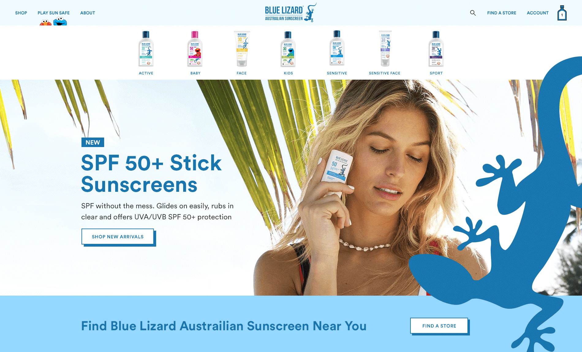Digital Marketing Agency Website Mockup Featuring Blue Lizard Brand & Young Lady with Sunscreen