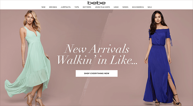 Digital Marketing Tips Blog Two Models in Gowns on bebe Website
