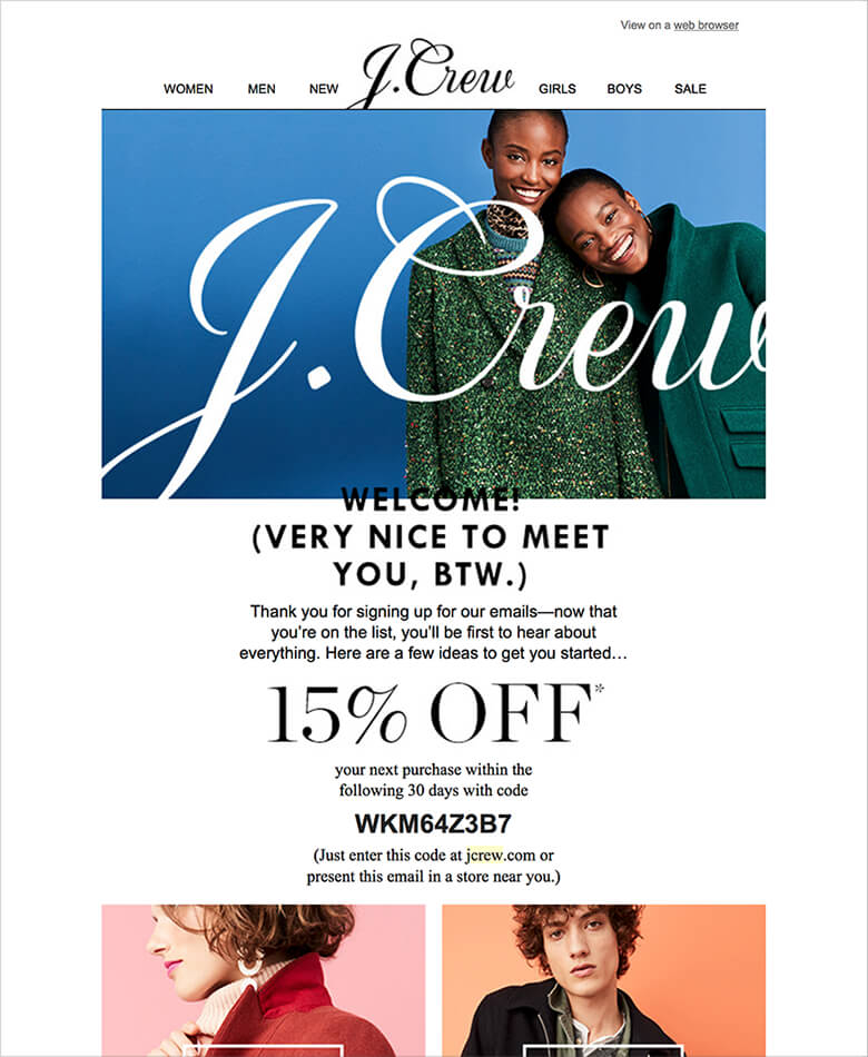 Digital Marketing Designed This Email From J.Crew Featuring Discount Coupon and Models