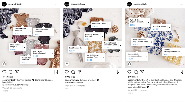 Social Media Shoppable Clothing Examples Showing Callouts and Prices