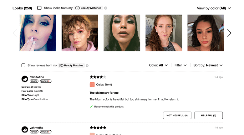 UGC Reviews Showing Women Wearing Lipstick and Their Comments