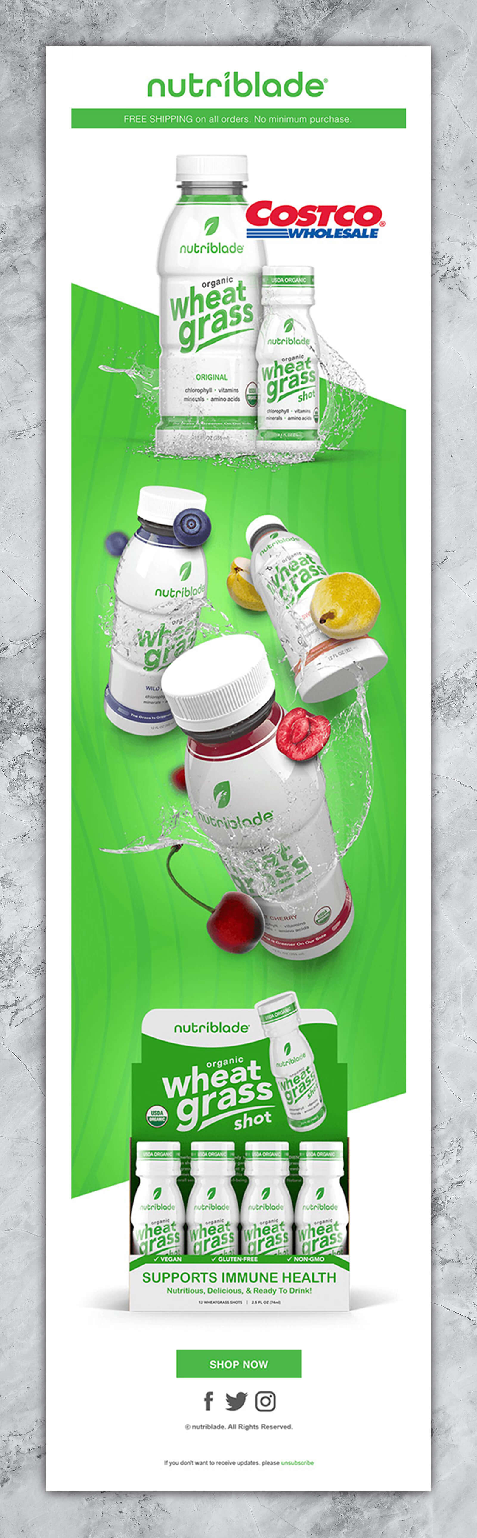 Email Marketing Company Graphic Showing Beverages In 3 Flavors Over Green Background