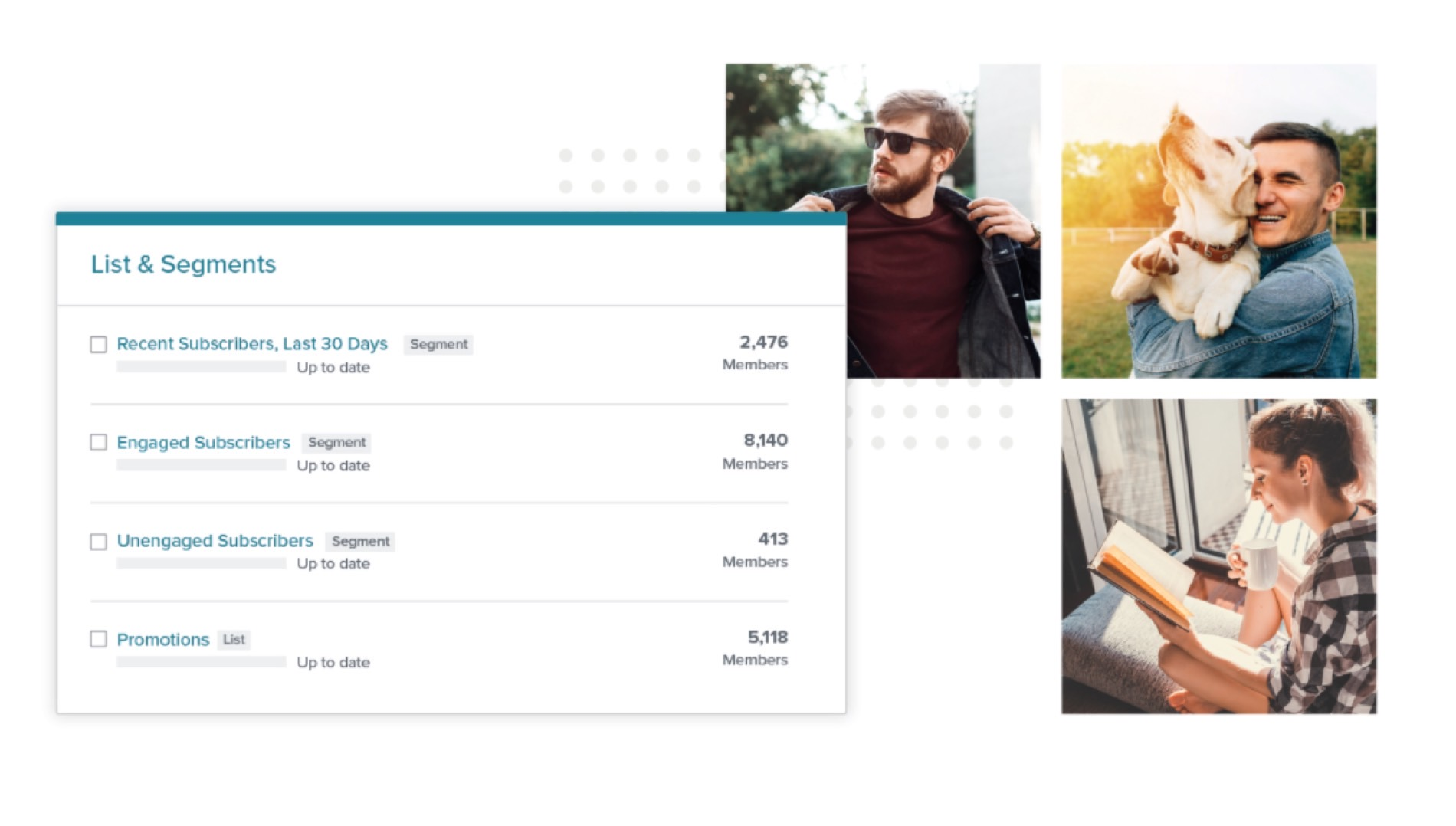 Email Marketing Segmentation Dashboard Mockup And Pictures Of Happy Customers