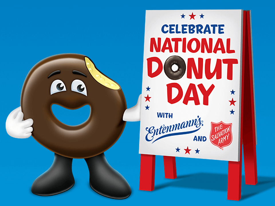 Digital Event Render Graphic with Donut Character With Sign
