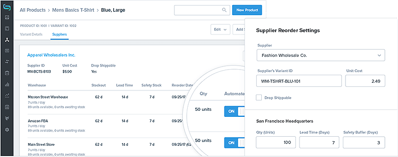 Inventory Management Automation Screenshot Showing Reorder Screen