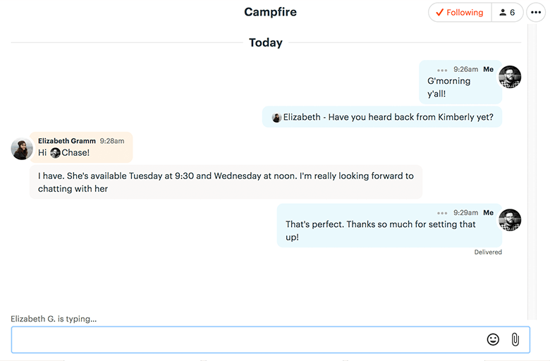Basecamp 3 Campfire Chat Example With Elizabeth Typing