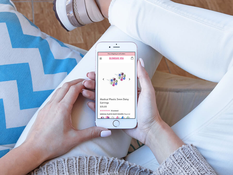 Medical Jewelry Marketing Company Mobile Website Mockup