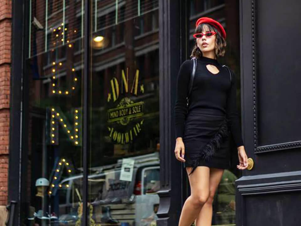 Retail Footwear Marketing Photo Of Model Wearing Shoes Walking Down A Trendy Street