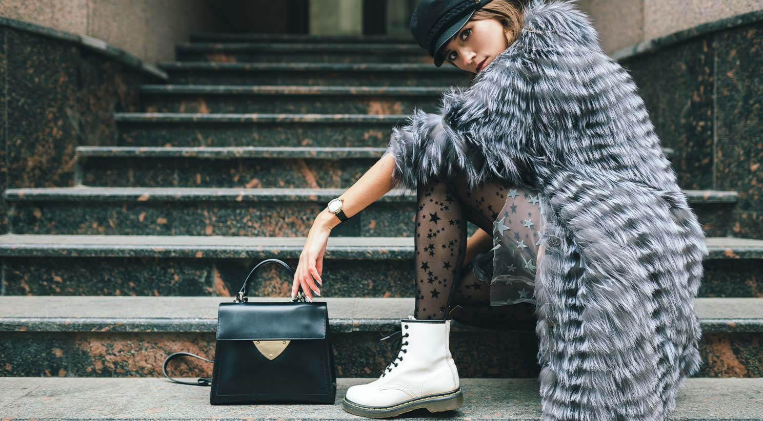 Model In A Fur Coat Posing For A Footwear Marketing Campaign