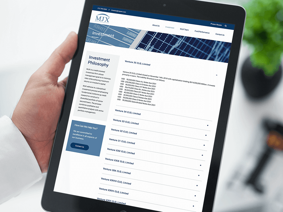 Full-Service Web Development Company for Asset Management Company on Tablet