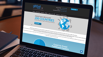 Landing Page Of Globalshopex International Shipping For eCommerce Businesses On Laptop Screen