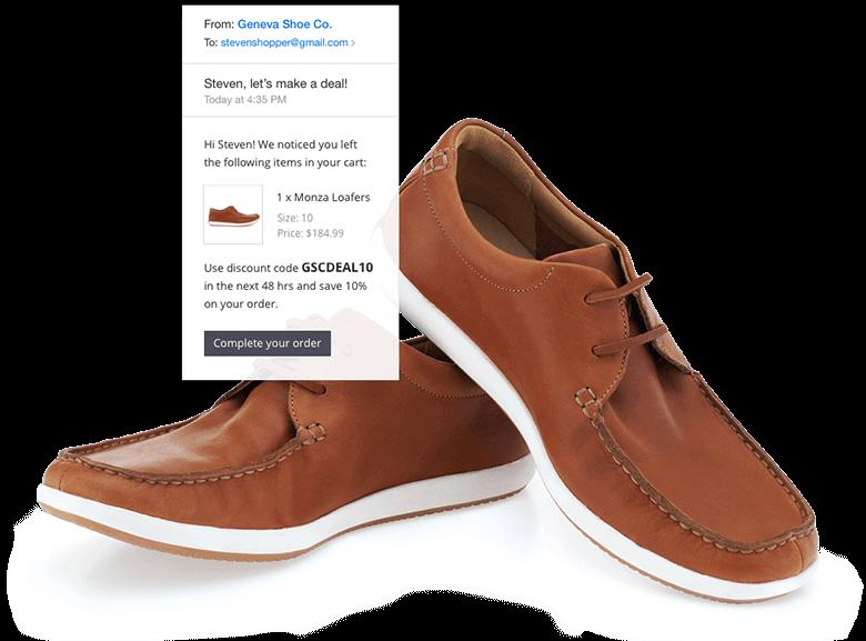 BigCommerce vs. Magento Blog Image Of BigCommerce Abandoned Cart Reminder and Pair of Shoes