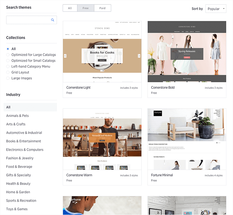 BigCommerce vs. Magento Blog Image Of BigCommerce Themes Store Screenshot