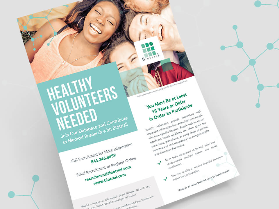 Brand Activation Agency Flyer Design for Biotrial Brand With Volunteers Shown