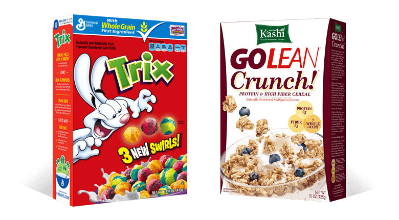 Product Packaging Design Influences Purchasing - Two Cereal Boxes