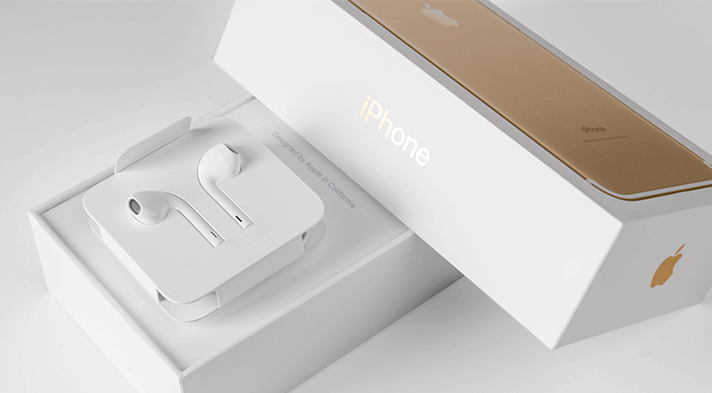 Product Packaging Design Influences Purchasing - Image of iPhone and Earbuds in the Box