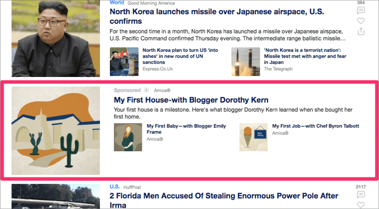 Screenshot of Native Advertising on Website Showing Blog