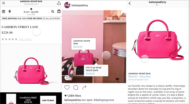 Social Shopping Screenshot of Kate Spade Brand Website