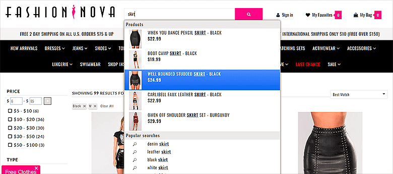 Screenshot of Drop Down Menu For InstantSearch ECommerce Search FashionNova