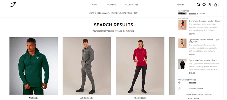 InstantSearch ECommerce Search Results of GymShark Clothing Showing Models Wearing Branded Clothing