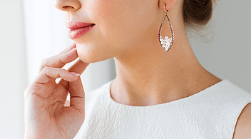 Woman Wearing Earrings She Bought From An Online Jewellery Store Of A Small Business
