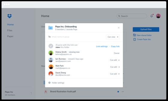 Marketing Company Dropbox Admins Screenshot