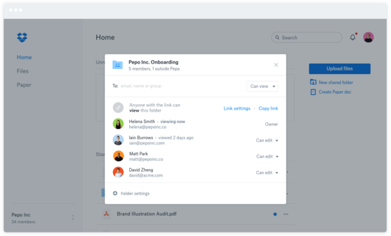 Marketing Company Dropbox Admins Screenshot