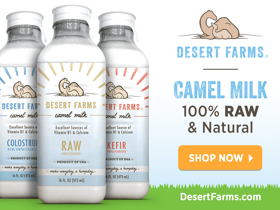 Three Bottles of Camel Milk With Call To Action Graphics On CPG Case Study