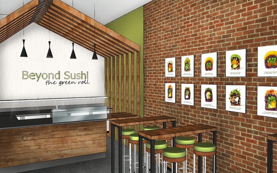 Food and Beverage Marketing Render Design of Sushi Store Interior