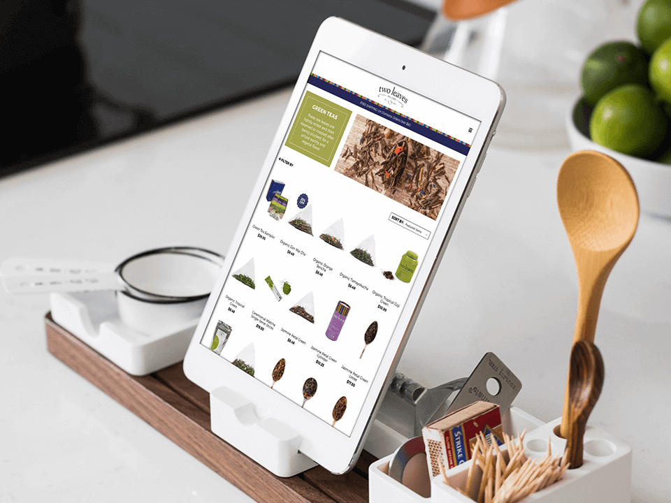 Tablet View Of Tea Brand Produced By Full-Service CPG Marketing Agency