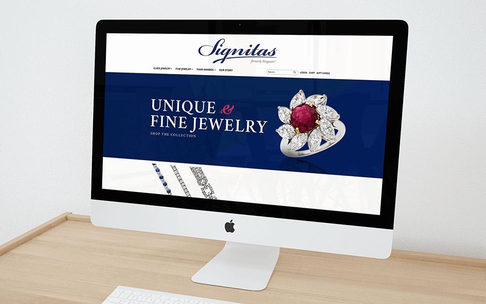 Jewelry Marketing Agency Desktop View for Class Rings Branding