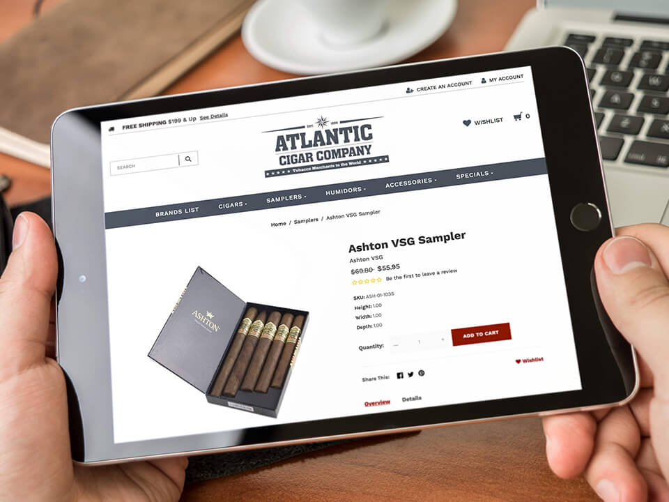 Tobacco Marketing Company eCommerce Page With Cigars on iPad