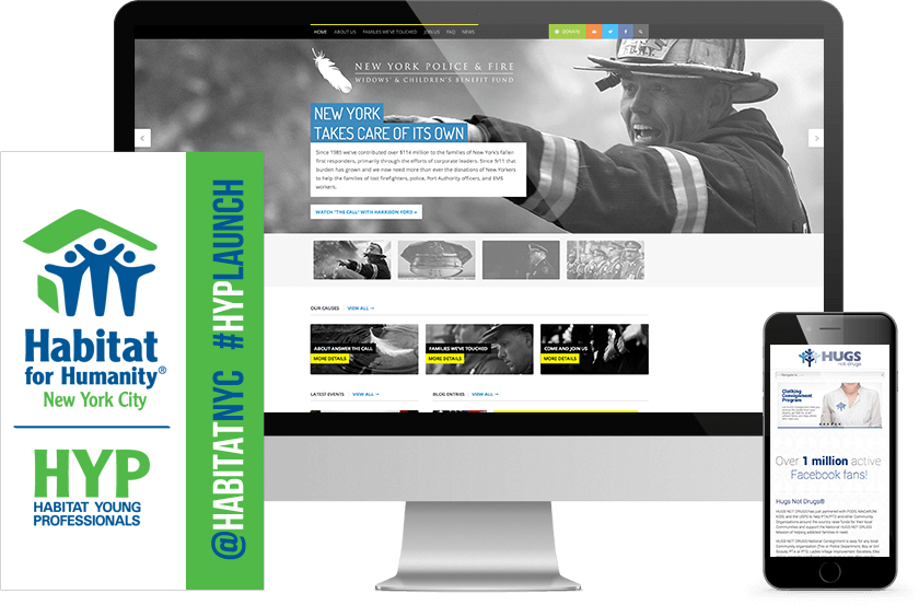 New York Police & Fire Website Mockup on Desktop And Advertising Banner of Habitat for Humanity.