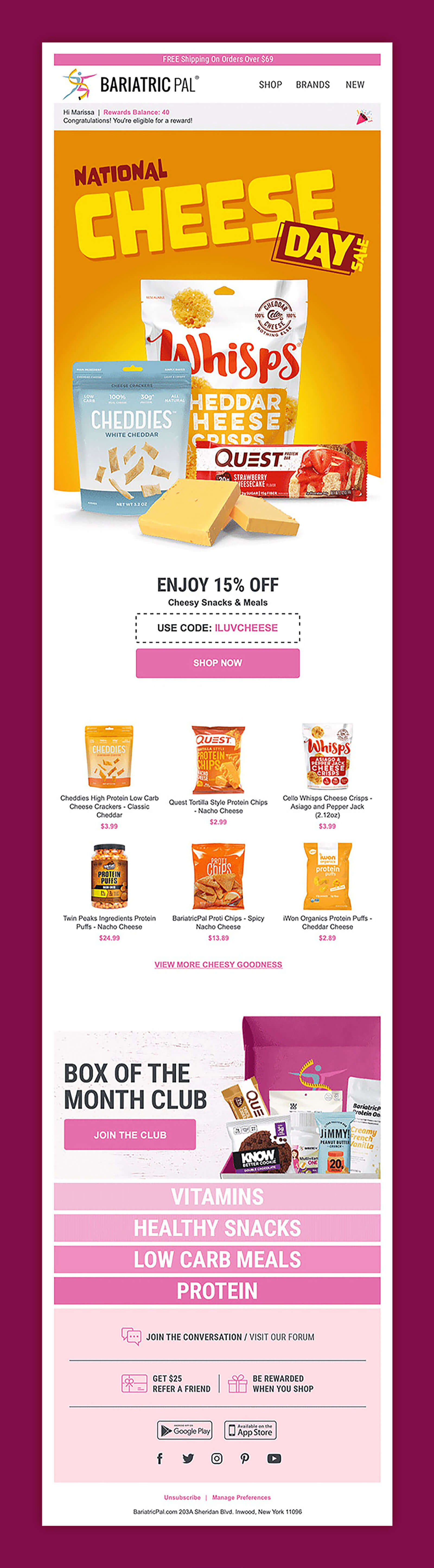 Email Agency Design of Klaviyo Graphic Featuring CPG Products With Cheese Promo