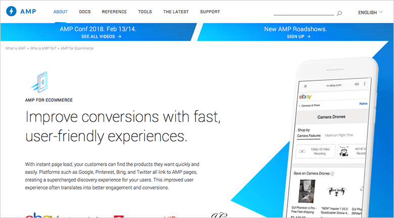 Image of Google AMP About Page Showing Cellphone