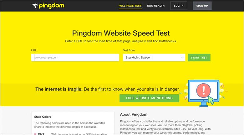 Optimizing Mobile Site Pingdom Screenshot