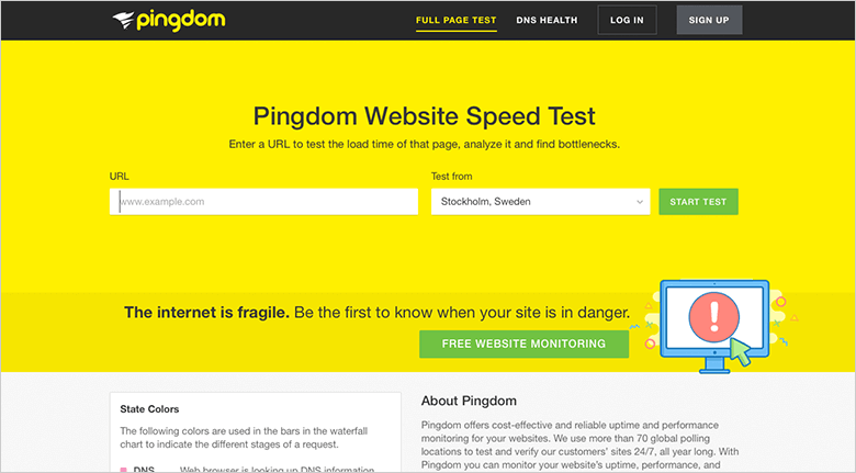 Pingdom Home Page For Optimizing Mobile Site Speed