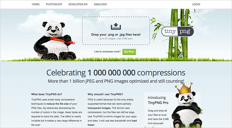 Home Page For TinyPNG Showing Panda Bear Logos