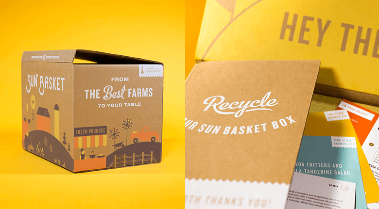 Best Farms Recycled Packaging Box With Graphics Over Yellow Background
