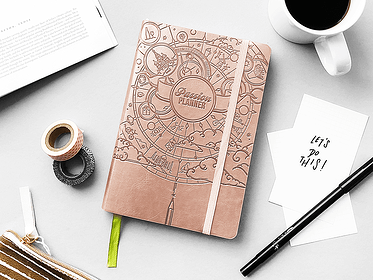 Brown Journal on Desk with Pen and Paper for Brand Development Photo