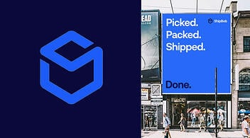 ShipBob eCommerce Fulfillment Logo and Billboard Graphic on Marketing Agency Site