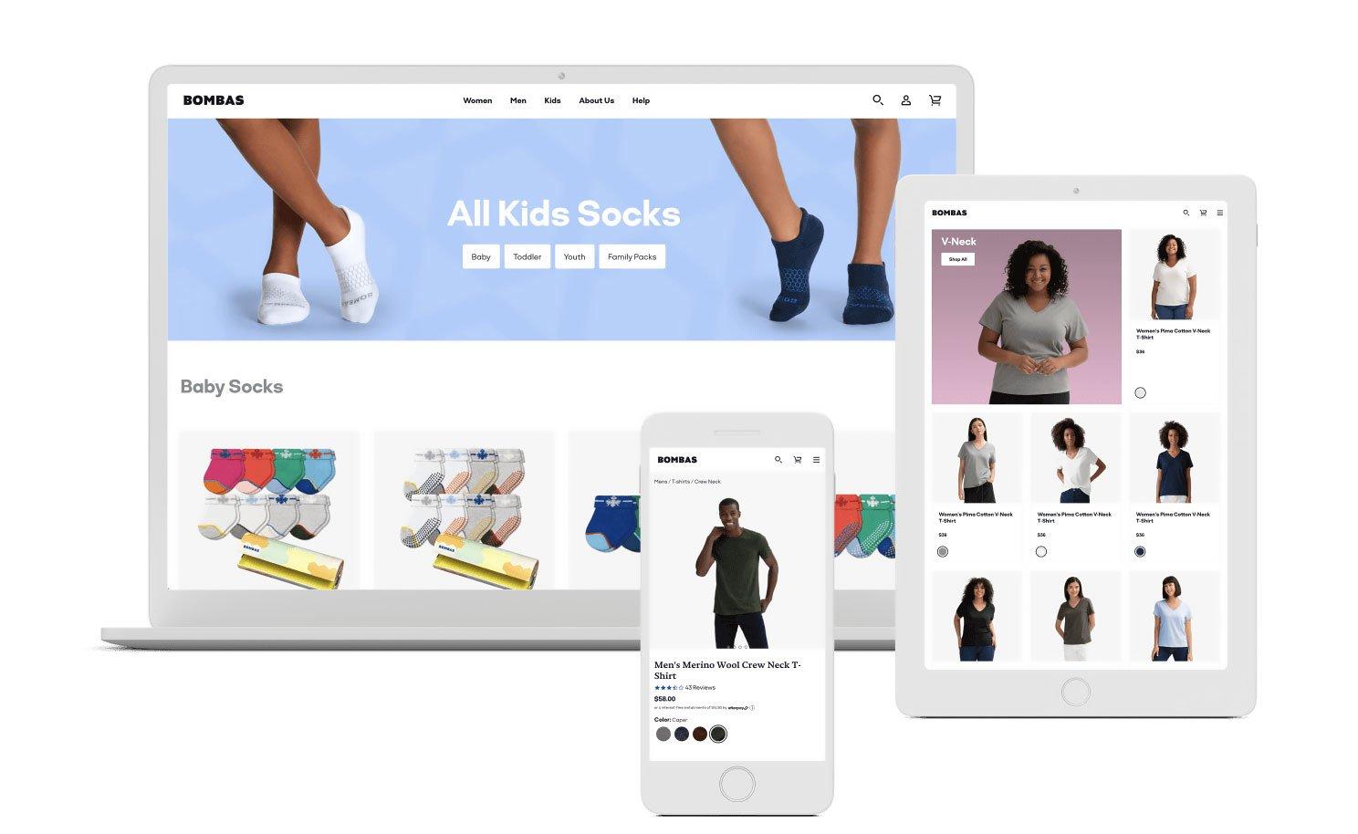 Shopify Partners Mockup Screenshot Showing Bombas Sock Website